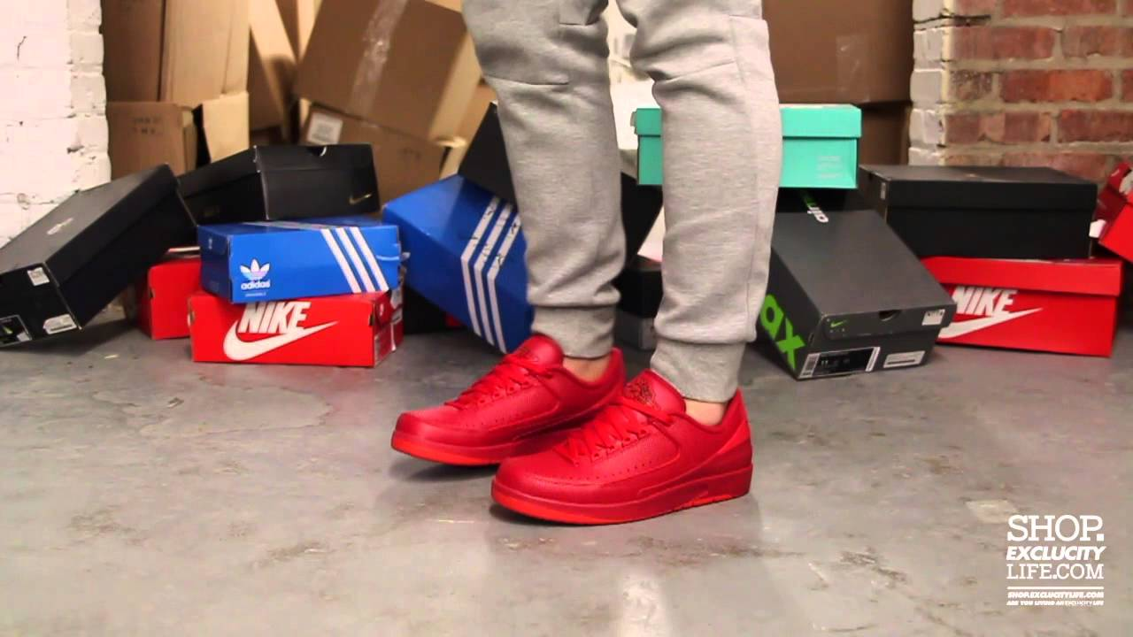 d2f4ac081a0b69 Air Jordan 2 Low Retro Gym Red On-feet Video at Exclucity - YouTube