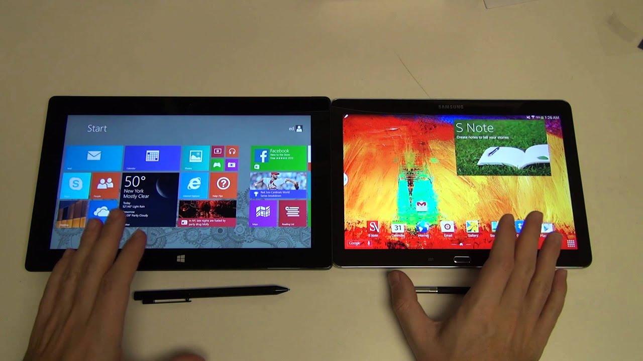 Microsoft Surface Pro 2 Vs Samsung Galaxy Note 10 1 2014