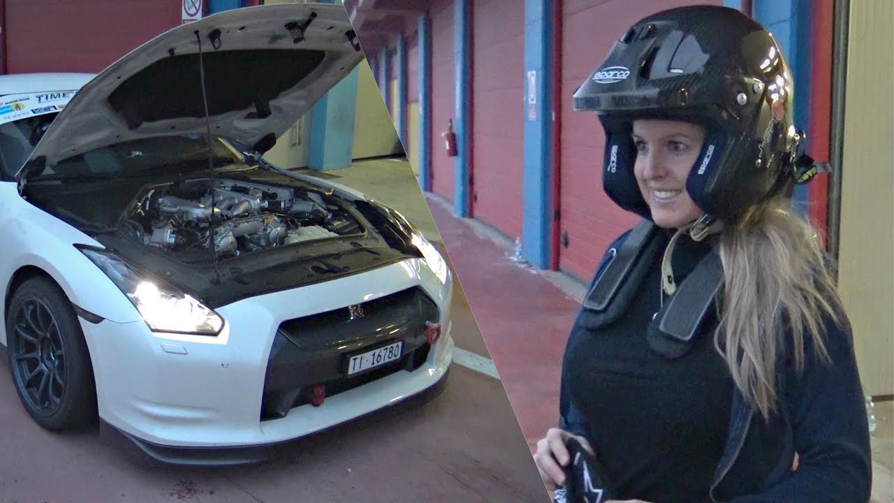 girl takes her tuned nissan gtr to the track! - damn she can drive