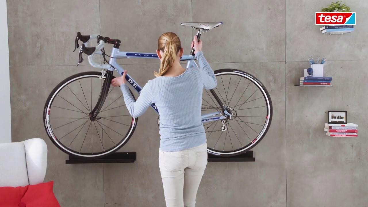 Fixation Pour Velo Garage astuce - suspendez votre vélo au mur sans percer avec tesa® !
