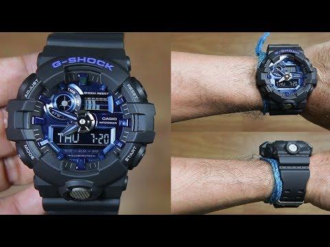CASIO G-SHOCK GA-710-1A2 BLACK BLUE - UNBOXING