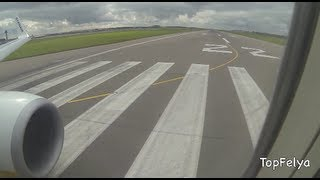 Takeoff from Stansted London cabin video Ryanair cheap flight to Poland