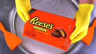 REESES  Peanut Butter Cookies Ice Cream Rolls | satisfying fried icecream with Reese's Rounds | ASMR
