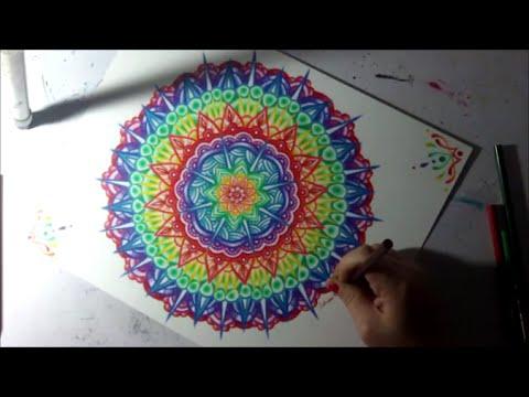 Rainbow Mandala Colored Pencil Drawing Time Lapse Geometric Art