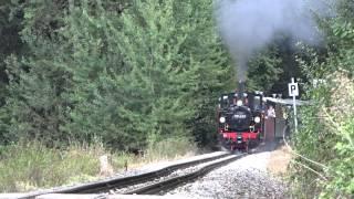 Die 99633 aus dem Eisenbahn Romantik Trailer dampft wieder auf dem Öchsle