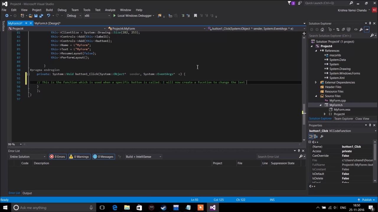 Creating and Editing Windows GUI in C++ in Visual Studio 2015