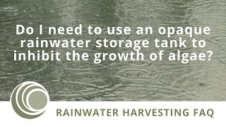 On the Importance of Tank Opacity in a Rainwater Harvesting System