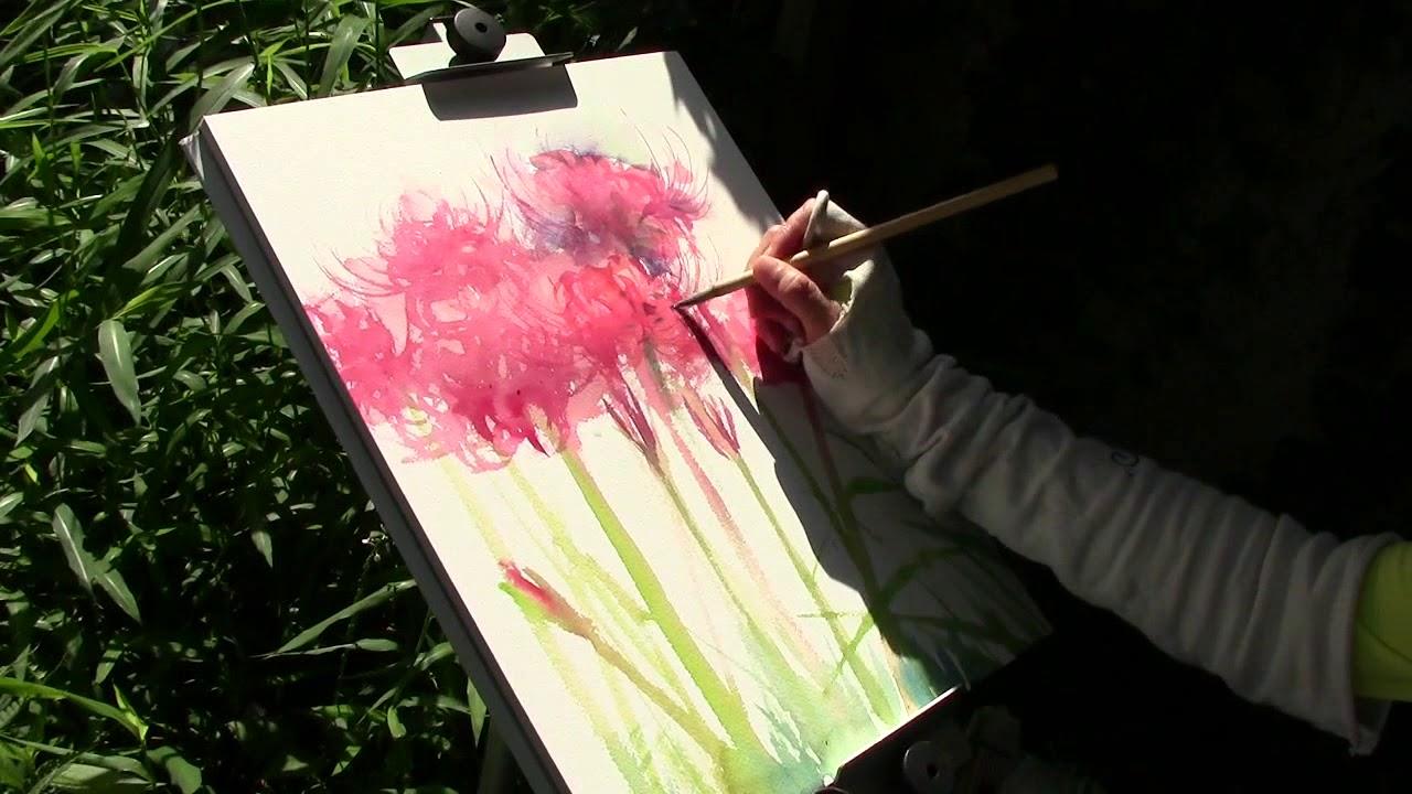 彼岸花をお外で描こう 17 その1 Youtube