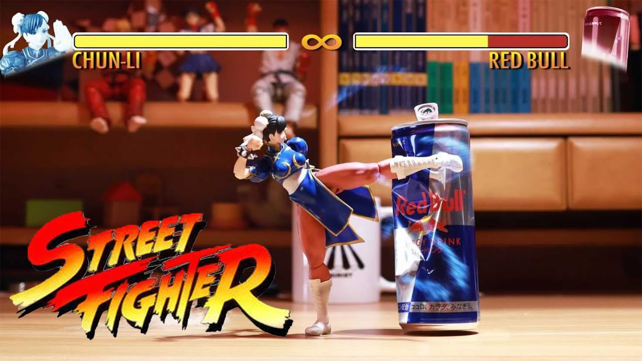 Street Fighter V: Chung Li Punching Red Bull Can With Ultra Combo| Stop Motion