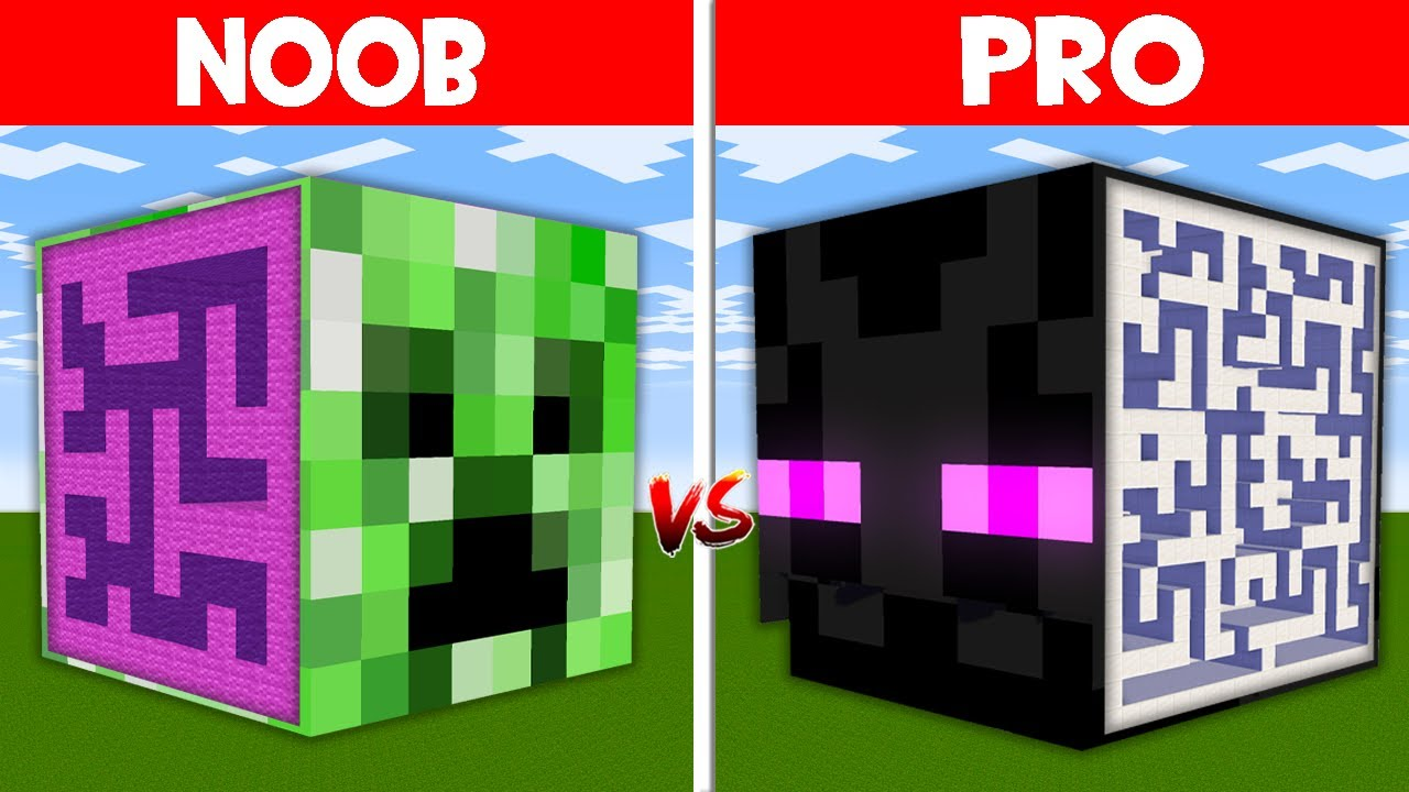 Minecraft NOOB vs PRO: HIDDEN MAZE INSIDE CREEPER HEAD vs ENDERMAN HEAD BLOCK MAZE! (Animation)