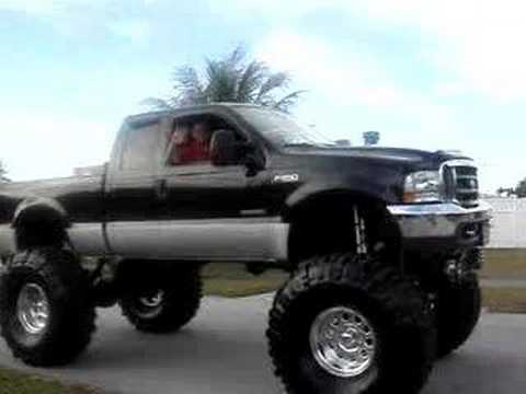 a Giant Lifted Ford Pickup