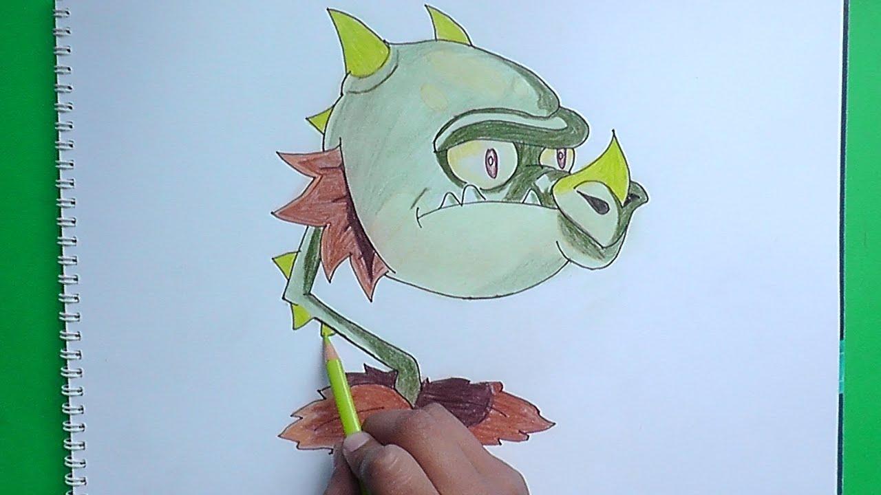Como Dibujar A Boca De Dragón (Plantas Vs Zombies 2)