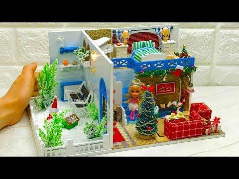 DIY Miniature Dollhouse Kit Blue Christmas with Barbie