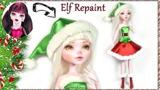 Cute Christmas Elf Doll - Monster High Draculaura Repaint