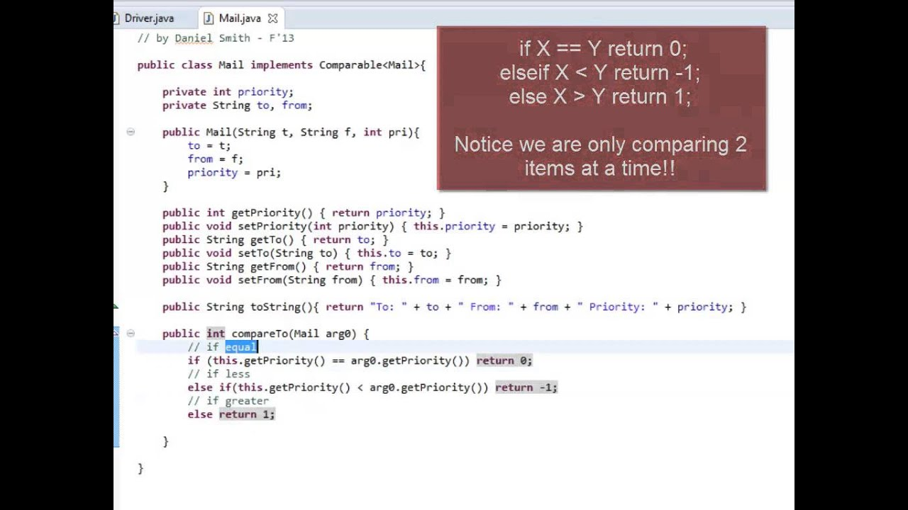 Java Priority Queue Example For Mail Youtube