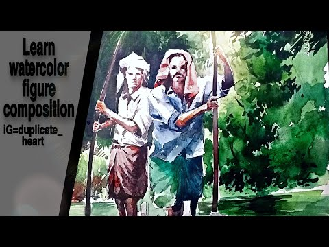 Easy watercolor figure painting demo//BFA exam composition tutorial for beginners//
