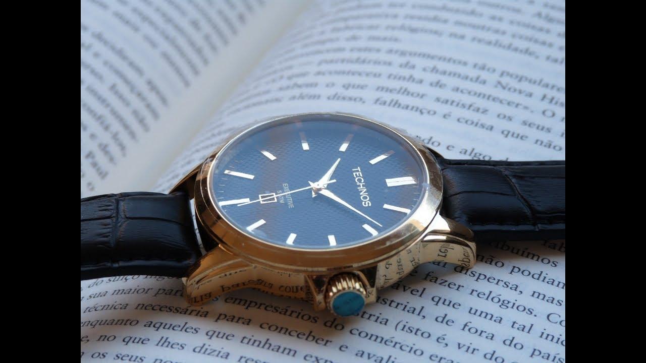 4cbcd21749c Relógio Dourado Technos 2115K0X 2P Executive Pulseira de Couro - YouTube