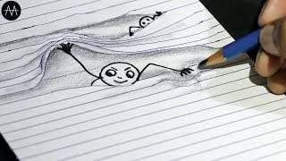 Very Easy !! 3d Trick Art on paper - Cartoon