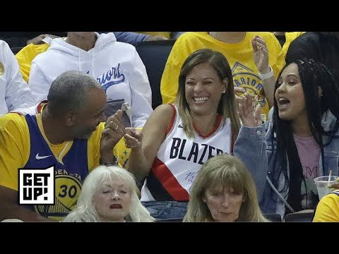 sports shoes d024d f6f41 Steph Curry's mom can't help but cheer for the Warriors while wearing Seth  Curry's jersey | Get Up