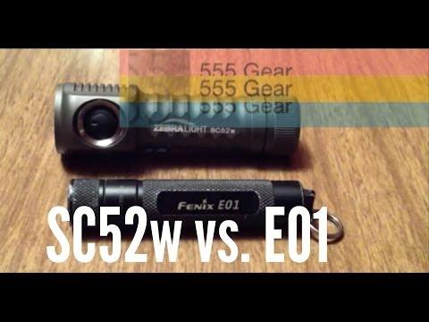 Comparison: Zebralight SC52 Vs. Fenix E01 EDC LED Flashlight