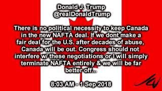 Trump Tweets Sept 1, 2018 -  Canada,NAFTA Worst Trade Deals Ever Made