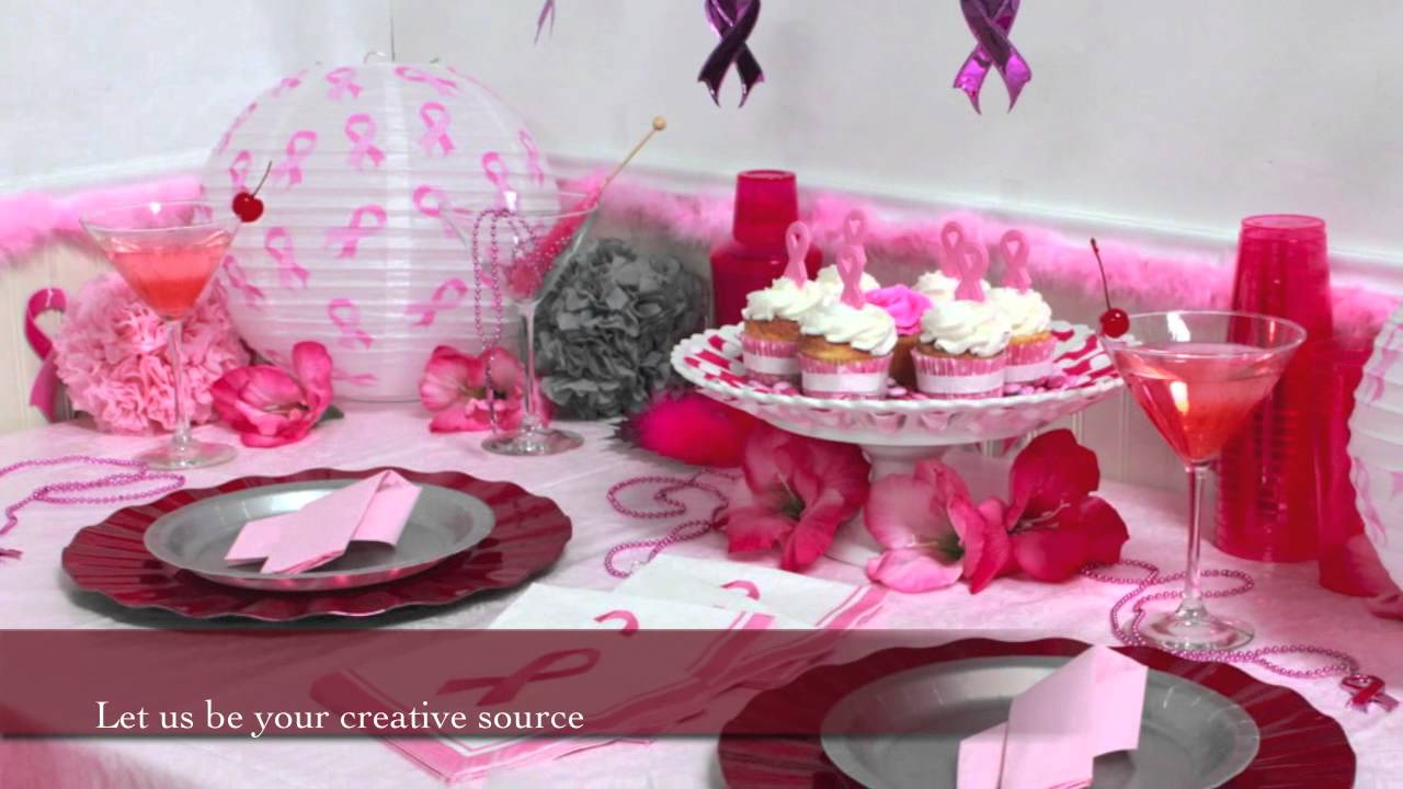 Pink Ribbon Party Supplies Youtube