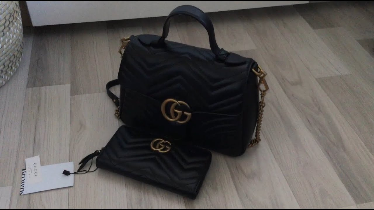 47944f5e716dd0 Gucci Unboxing - Marmont Large Top Handle Bag, Marmont Wallet, Amstel Suede  Clogs & Invite Scarf