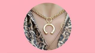 Impulsiva Jewelry - Gold necklace with Curved Barbell Pendant