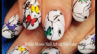 Birds in the Snow Nails | Elegant Winter Butterfly Nail Art