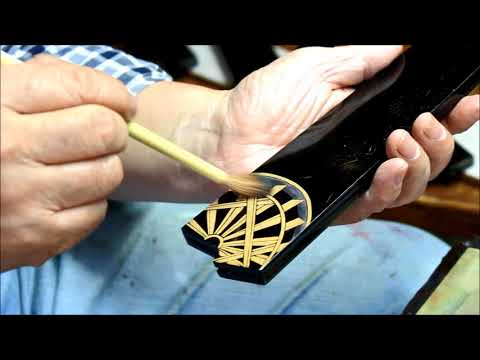 Makie gold lacquer painting Takeshi Saji knife saya case made by Mr. Koichiro Tsukada
