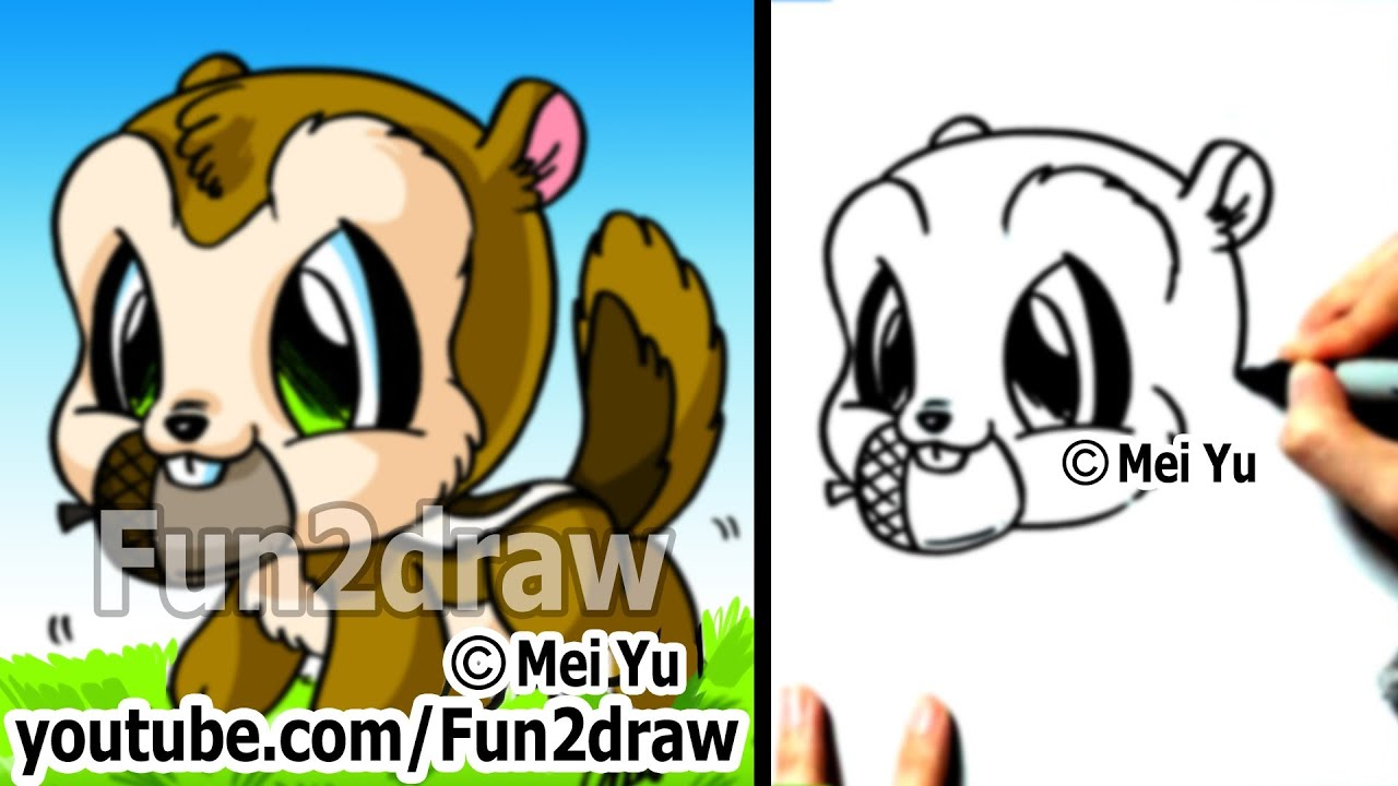 Easy Cartoon Drawings How To Draw Animals Chipmunk