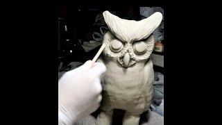 陶芸:手びねりでフクロウ pottery:owl