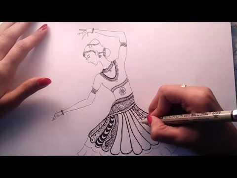 How To Draw Bharatanatyam Zentangle Art Speed Drawing Youtube
