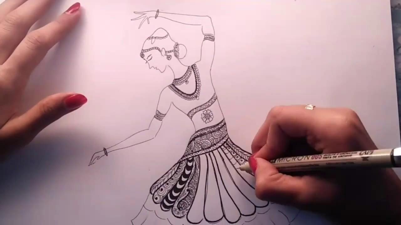 How To Draw Bharatanatyam Zentangle Art
