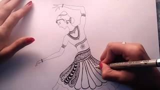 How to draw Bharatanatyam zentangle art | Speed Drawing