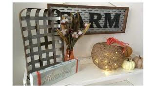 DOLLAR TREE DIY FALL DECOR | TWINE LIGHT UP PUMPKIN |FARMHOUSE DECOR