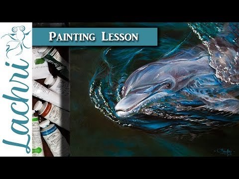 How to paint a dolphin and realistic water - Oil over Acrylic Painting w/ Lachri