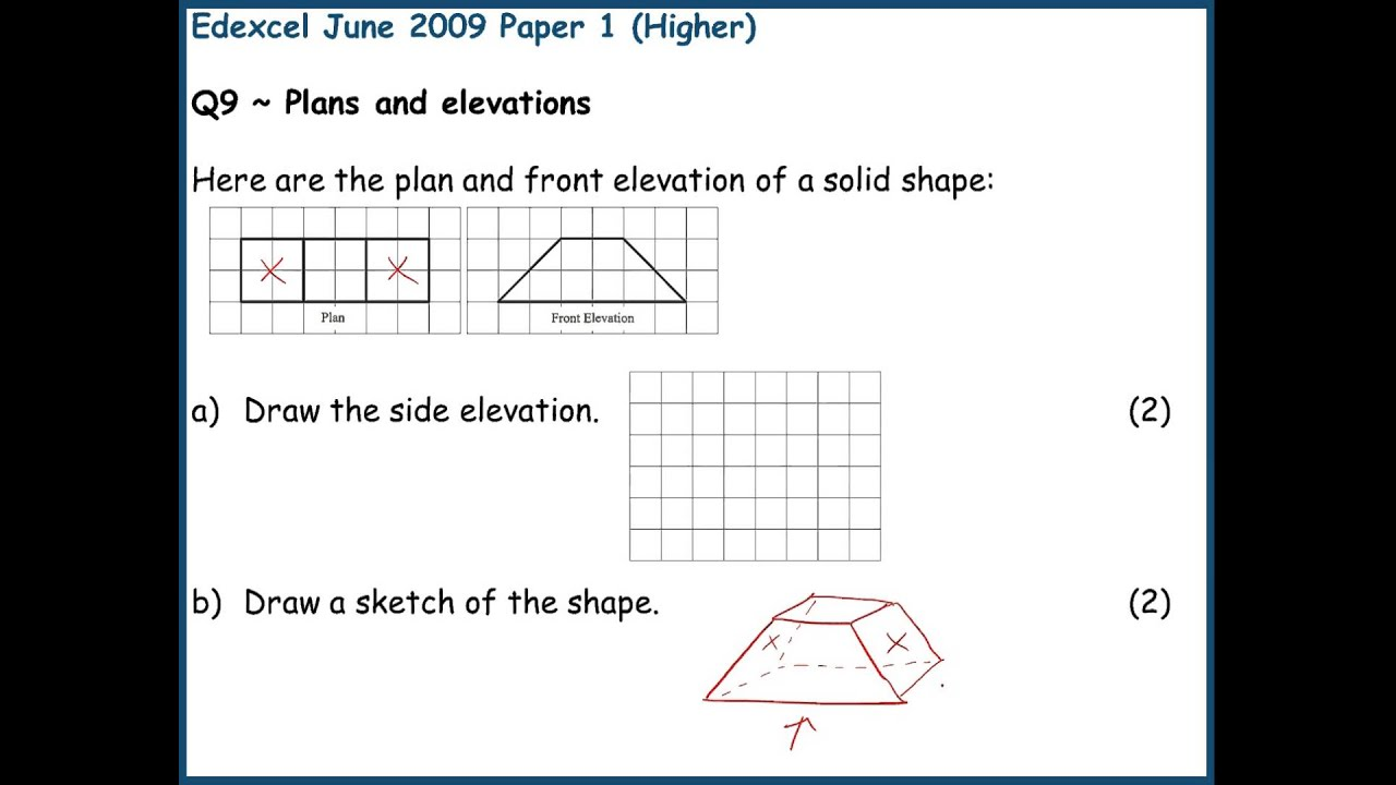 Plan And Front Elevation Of A Solid Shape : June higher paper h edexcel q plans and