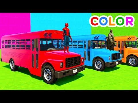 Thumbnail: Learn Colors Big School Bus w Superheroes Cartoon For Kids & Babies Cars Fun Animation