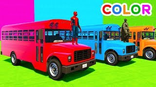 colors cars bus cartoon fun superheroes learn babies animation