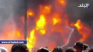 بالفيديو والصور.. 14 سيارة إطفاء تسيطر على حريق شاحنة المواد البترولية بالإسكندرية