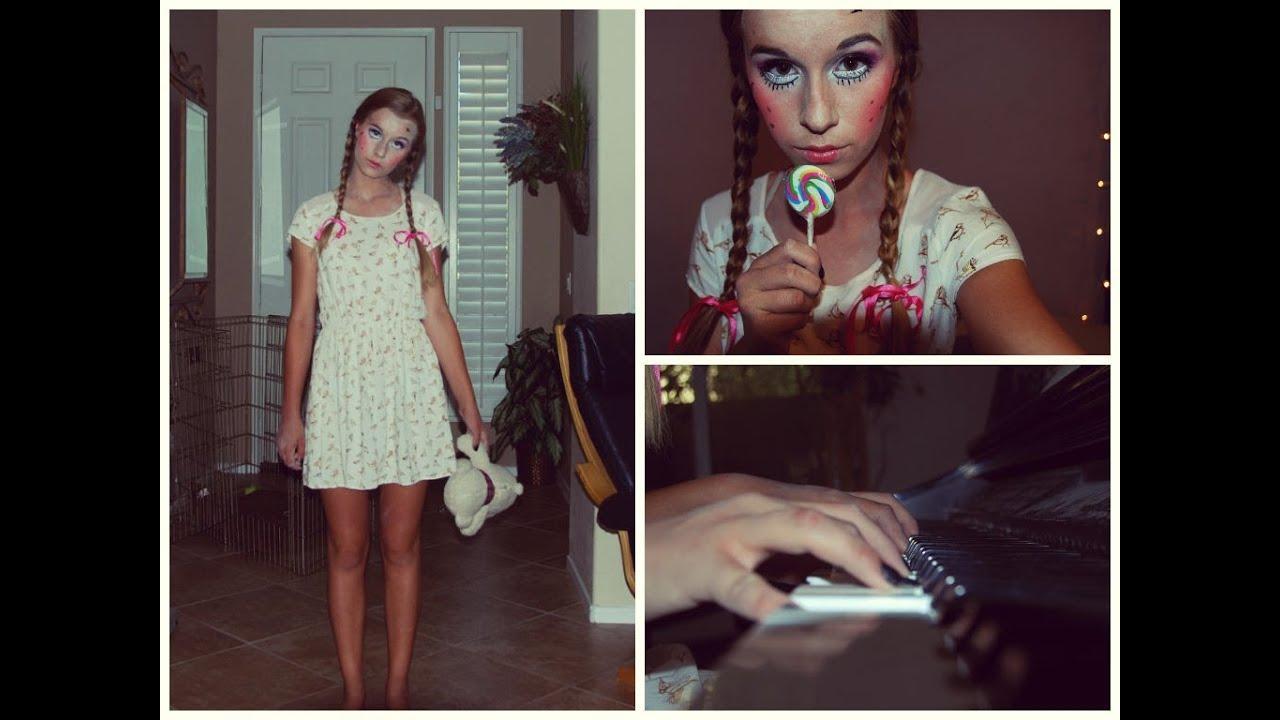 halloween creepy doll makeup hair costume youtube