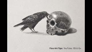 How to Draw A Skull & Crow - Narrated - Halloween Special