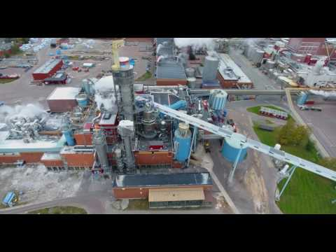 Flying in Karlstad over Swedish paper factory