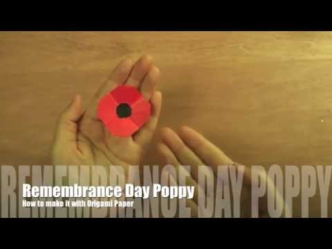 How to make Remembrance Day Poppy with Origami Paper   リメンバランスデーのポピー (作り方)