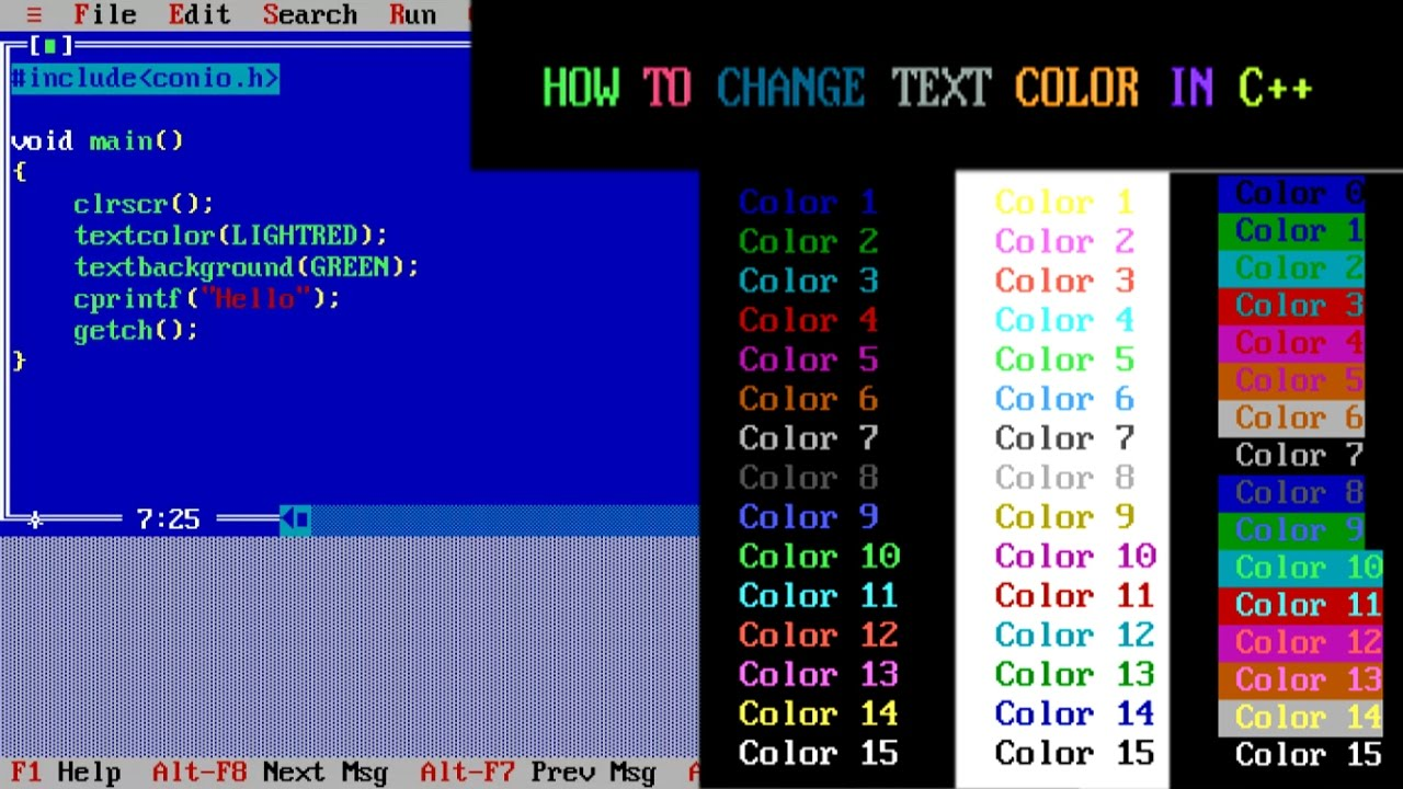 How to change text color in Turbo C++ - YouTube