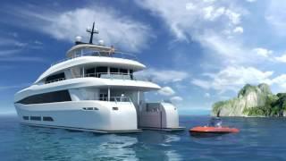 C Quester 2 launched from Curvelle Quaranta Catamaran Superyacht