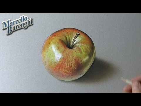 Drawing time lapse: shiny apple – hyperrealistic art