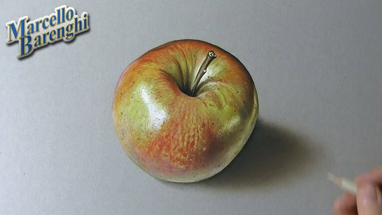 Drawing time lapse: shiny apple - hyperrealistic art