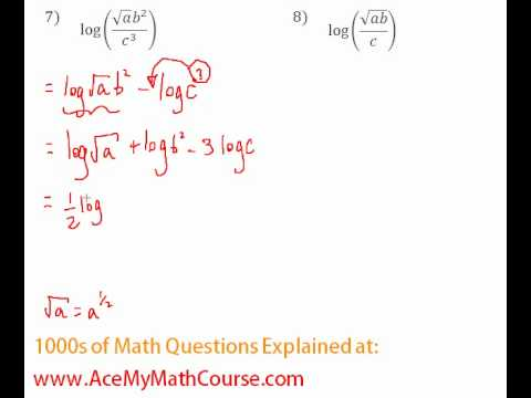 Expanding Logarithmic Expressions (examples, solutions ... on